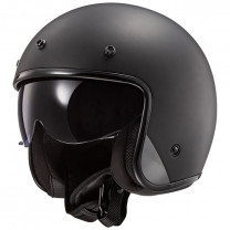 Casco Jet LS2 OF601 BOB Solid Negro Mate