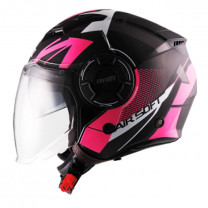 Casco Jet Unik CJ-11 Airsoft Negro/Blanco/Rosa mate