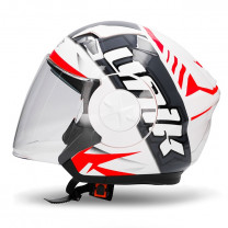 Casco Jet Unik CJ-17 Wave Blanco/Rojo