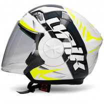 Casco Jet Unik CJ-17 Wave Blanco/Amarillo fluor