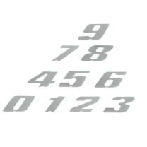 """Pegatina """"Número de Competición"""" 4R - LaserCut - blanco/cromado"""