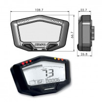 Cuadro Instrumentos KOSO DB02R (ROAD),  speed, odo, trip, rpm hasta 20.000, temp, Ilum. blanco 188.7x66.1mm, 22.7-26.8mm