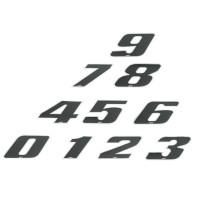 "Pegatina ""Número de Competición"" 4R - LaserCut - negro/cromado"